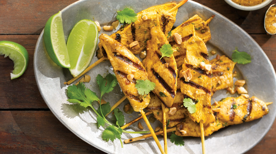 Thai chicken skewers with spicy peanut sauce from Stefano Faita