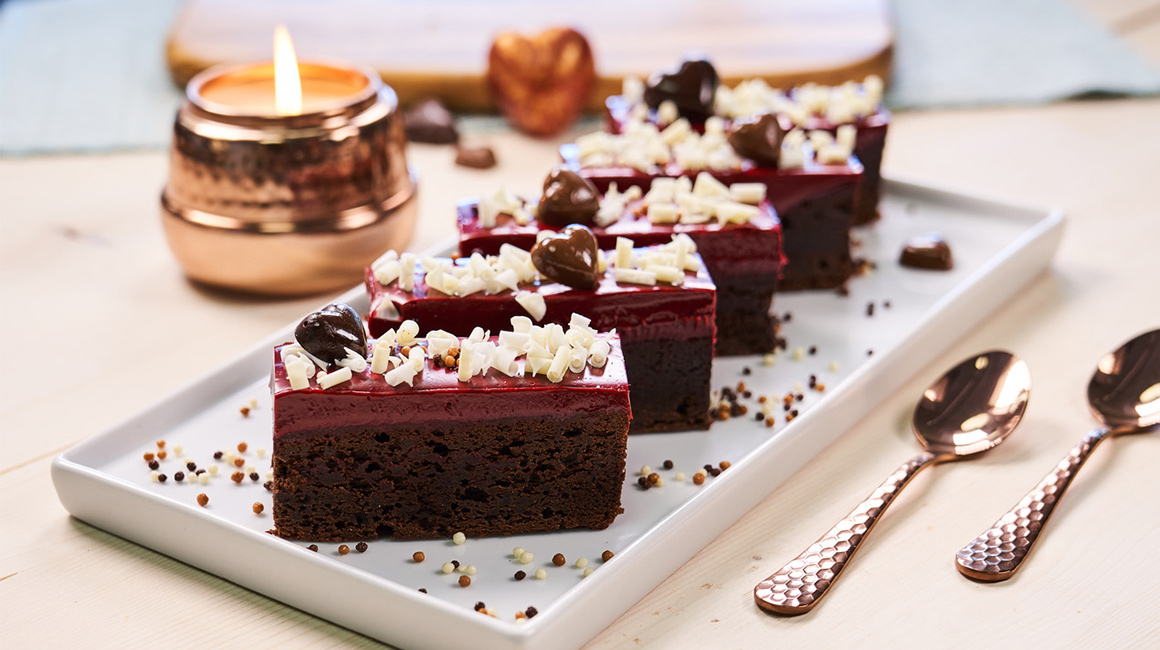 Decadent brownies with red velvet icing
