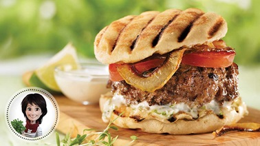 Lamb burgers with lime mayo from Josée di Stasio