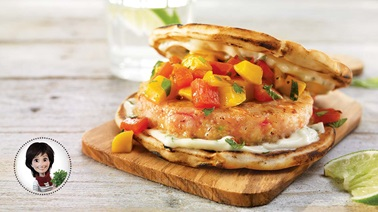Shrimp burgers with mango salsa and basil mayo from Josée di Stasio