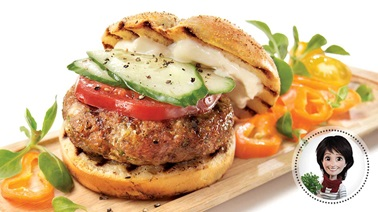 Greek-style chicken burgers from Josée di Stasio