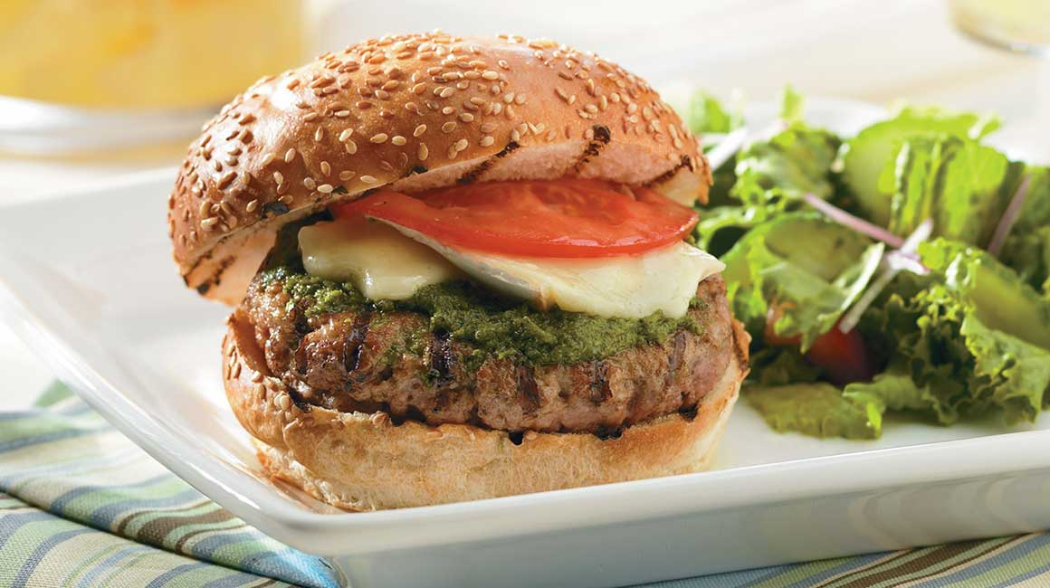 Quebec Milk-Fed Veal burger with pesto and brie