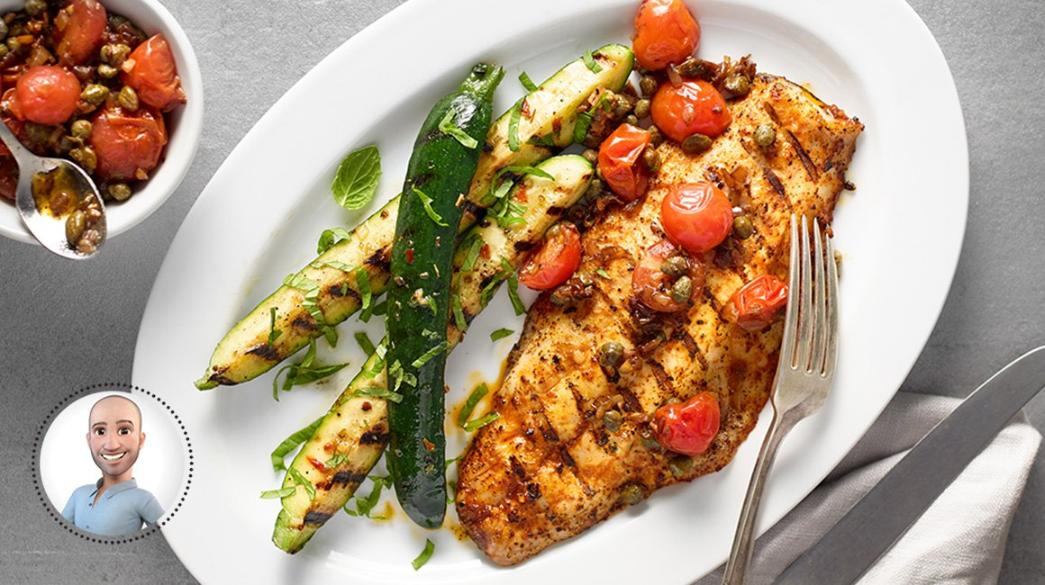Grilled striped bass with cherry tomatoes and capers