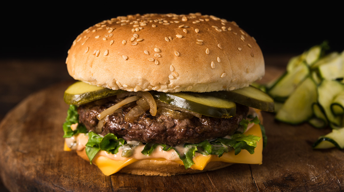 Zesty Caramelized Onion Burger with Cheese, and Russian Sauce