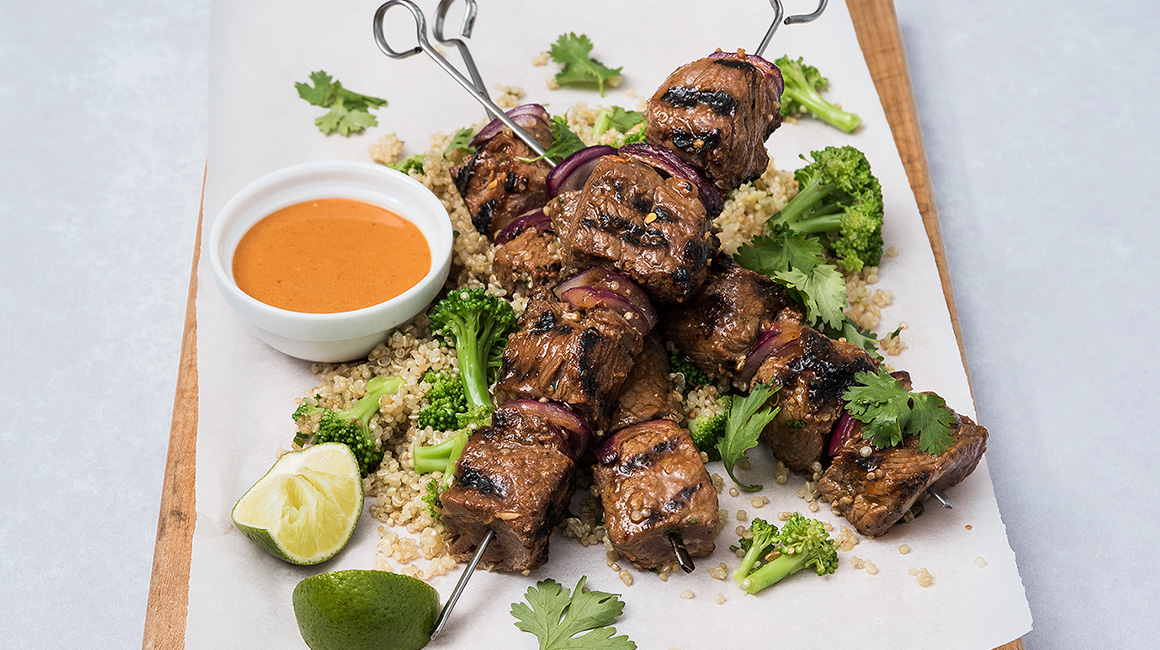 Garlic-Chili Beef Skewers with Ginger Quinoa