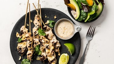 Honey and Tahini Satay Pork Skewers and Avocado Salad with Clementine Dressing