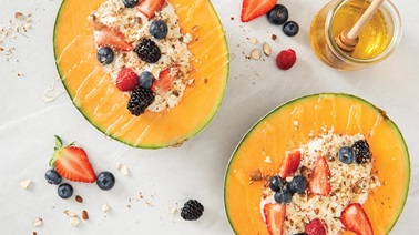 Cantaloupe Yogurt Berry Bowl