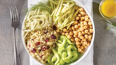 Tender Greens with Chickpea & Cranberry Couscous Bowl