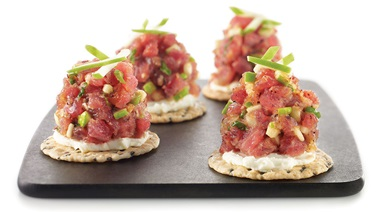 Tuna tartare bites with sesame and green apple from Genevieve Everell