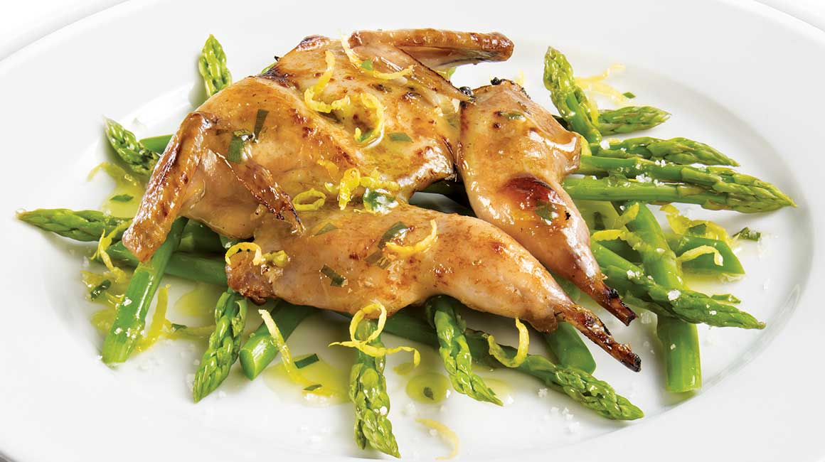 Marinated Quail on a Bed of Asparagus