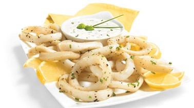 Fried calamari with herb-lemon sauce