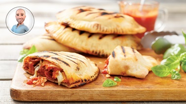 Grilled chicken & pepperoni calzones from Stefano Faita