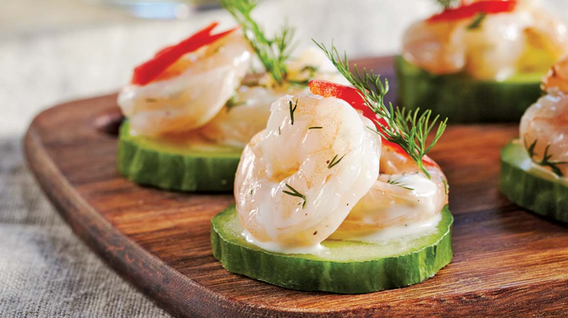 Shrimp And Cucumber Canapés IGA Recipes Bell Peppers Herbs - Canapes