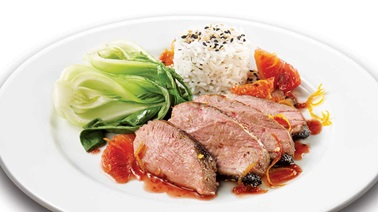 Duck with Spicy Blood Orange Sauce
