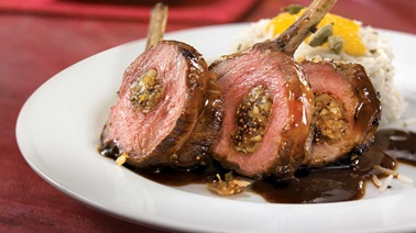 Rack of lamb with fig  and brazil nut stuffing