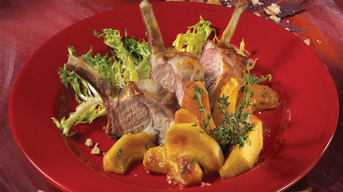 Rack of Québec Lamb and Apples Caramelized with Maple Syrup