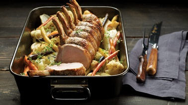 Roasted rack of pork with vegetables