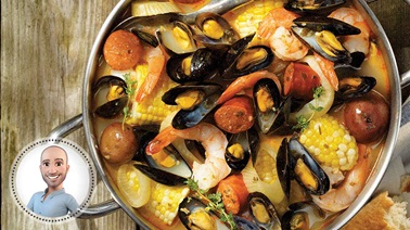 Mussel, corn, and shrimp boil from Stefano Faita