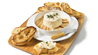 Warm goat cheese with caramelized pears