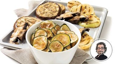 Zucchini chips and grilled vegetables