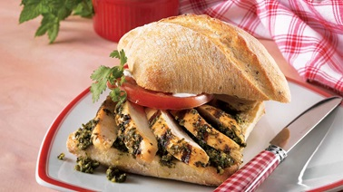 Grilled chicken and fresh herb ciabatta