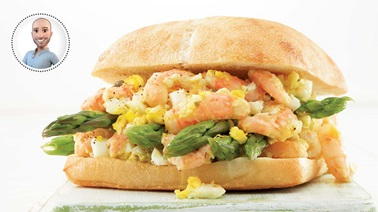 Asparagus, egg & northern shrimp ciabatta sandwich from Stefano Faita