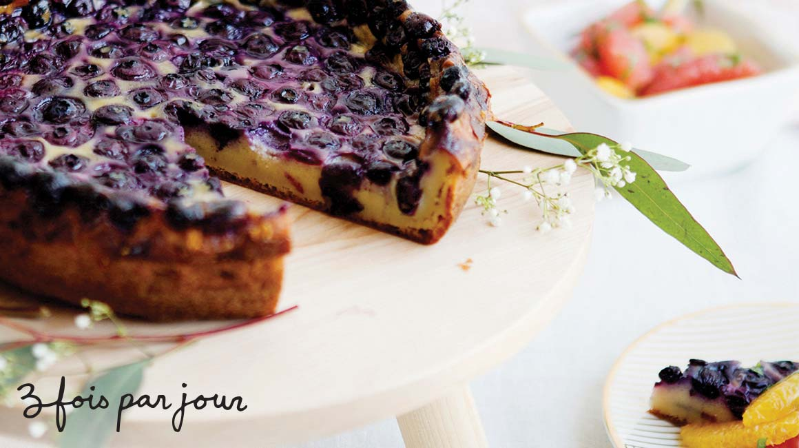 Blueberry clafoutis with mint citrus salad