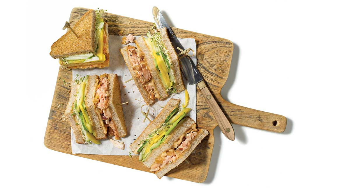 Two-salmon club sandwich