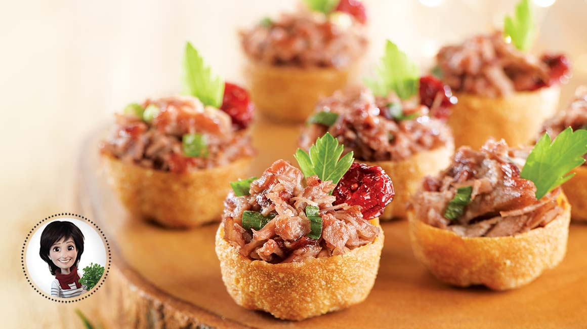 Duck confit bites from jos e di stasio iga recipes for Canape aperitif