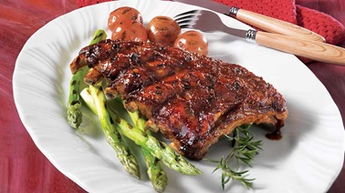 Smokey bourbon applewood spare ribs