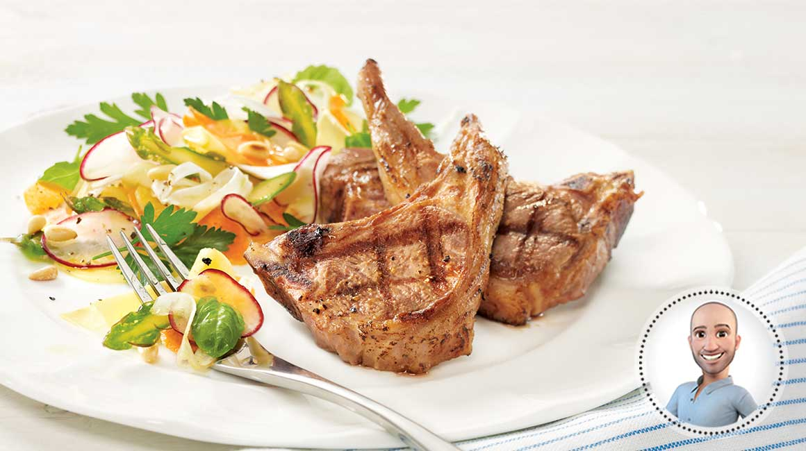 Grilled lamb chops with vegetable ribbon salad from Stefano Faita