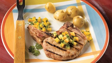 Californian-glazed pork chops with summer chutney