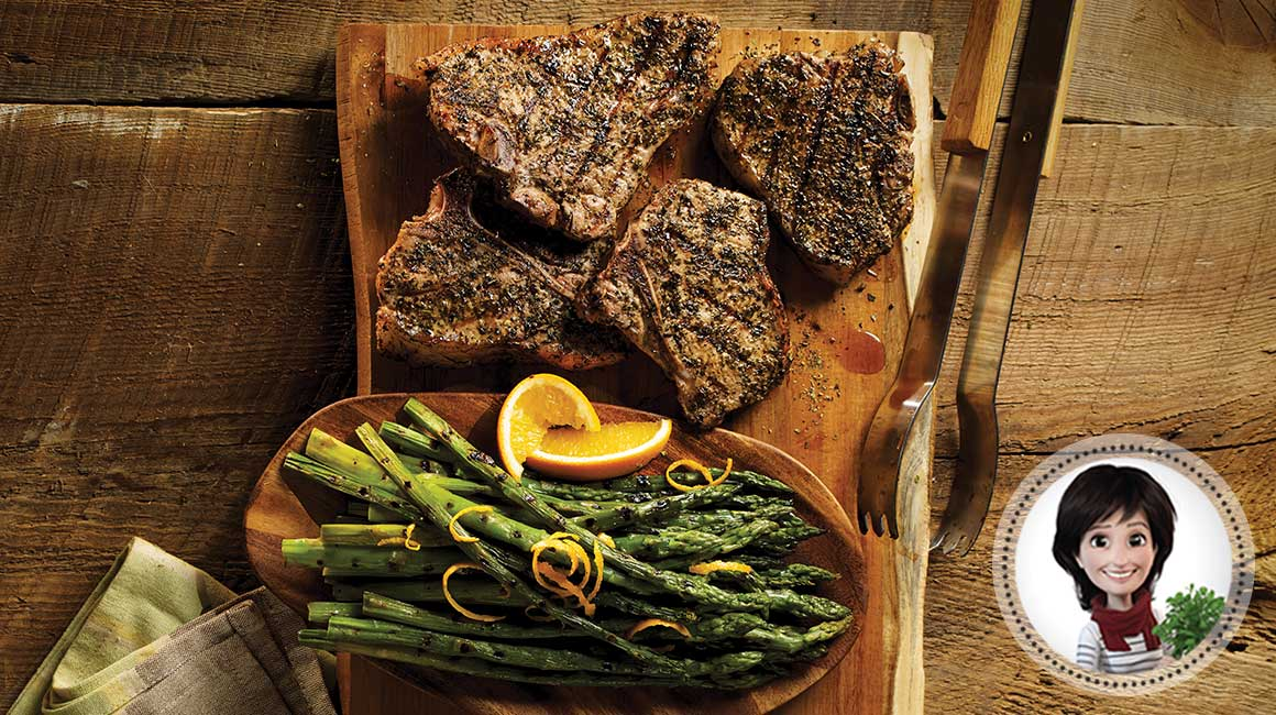 Veal chops and grilled asparagus from Josée di Stasio