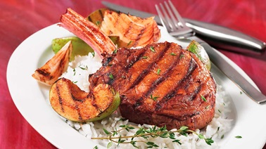 Hotel cut veal chops with grilled apples