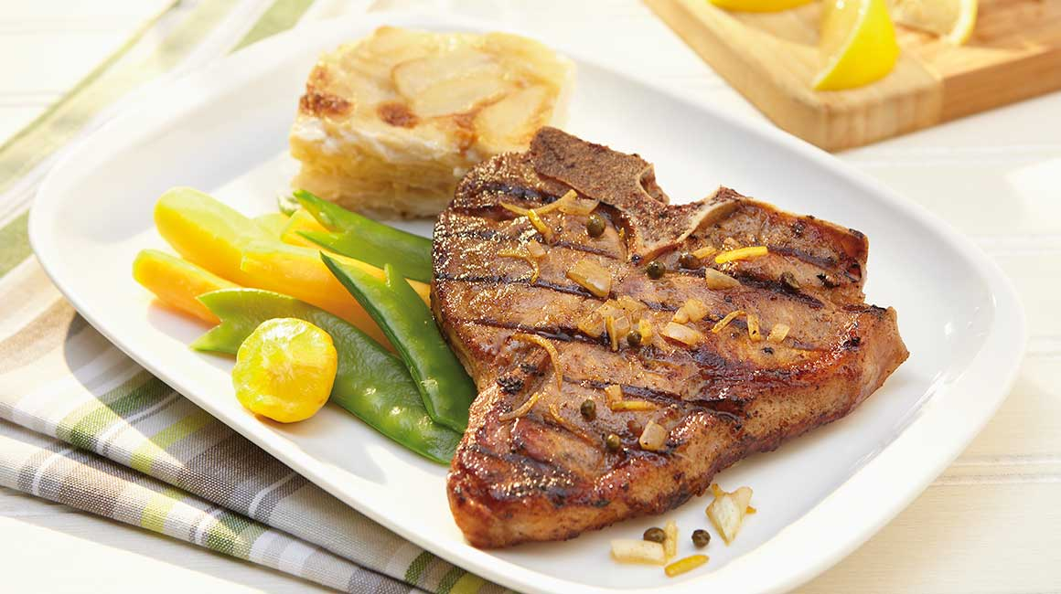 Spicy lemon-marinated québec milk-fed veal chops
