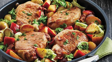 Apple-cabbage pork chops