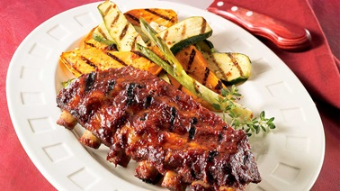 Maple barbecue-sauce pork ribs with grilled dijon vegetables