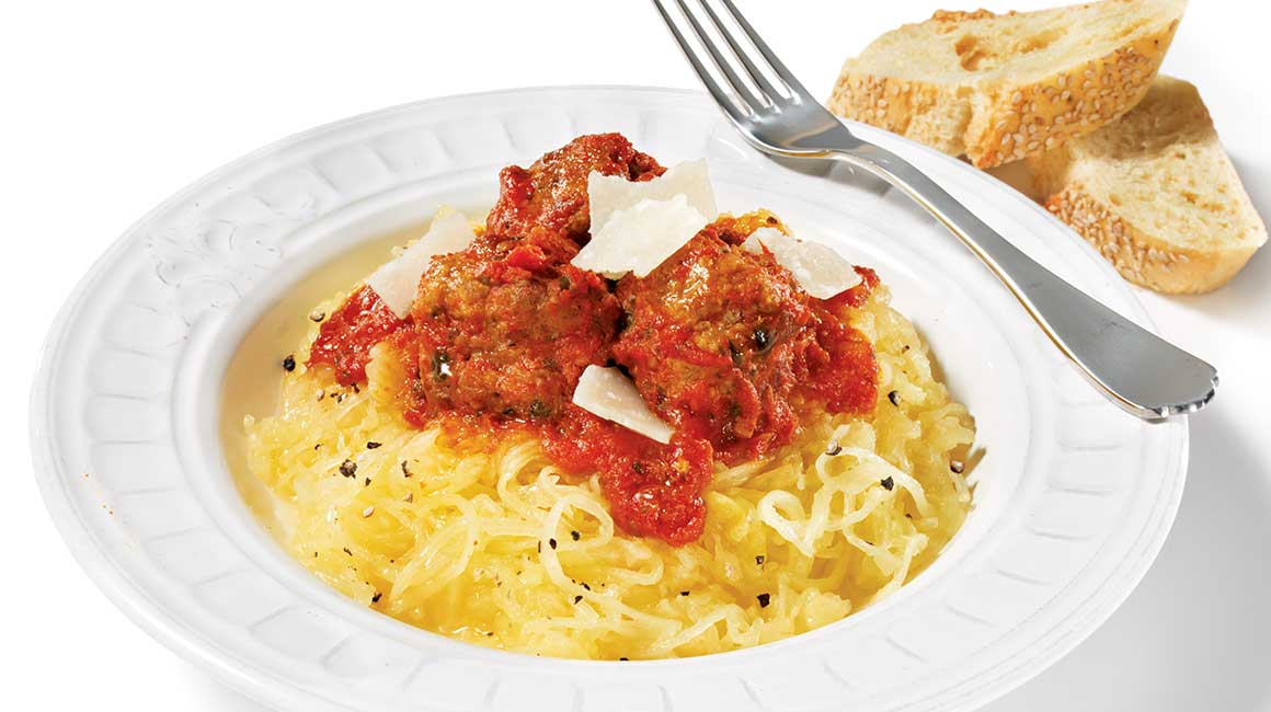 Spaghetti squash with marinara sauce and meatballs