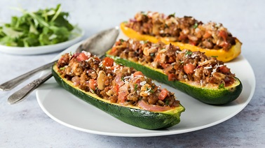 Vegetarian Stuffed Zucchini with Tomatoes and Parmesan