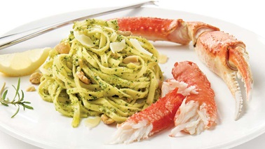 Snow crab and pasta with homemade pesto