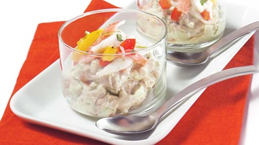 Avocado mascarpone cream with crab