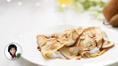 Crepes with pears & maple syrup from Josée di Stasio