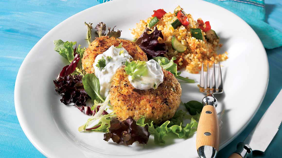 Basa fish cakes with yogurt sauce