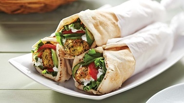 Greek-style tofu & kale croquettes in pitas