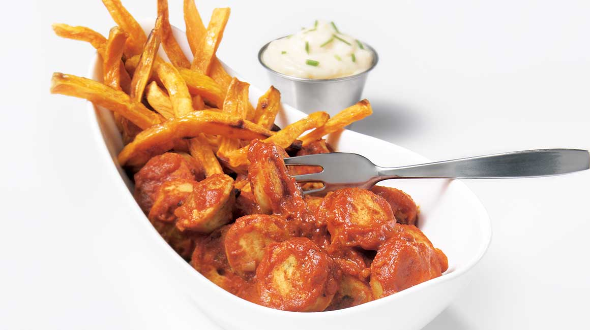 Currywurst and Sweet Potato Fries