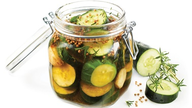 Pickled cucumbers with rice vinegar and maple syrup
