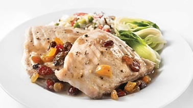 Blue marlin steaks with dried fruit saucewith dried fruit sauce