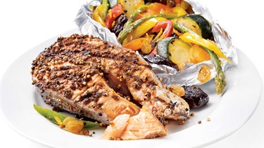 Grilled spice-crusted salmon steaks