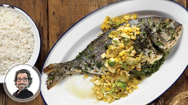 Grilled sea bream with braised corn and Brussels sprouts from Christian Bégin