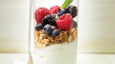 Honey, muesli and berry yogurt